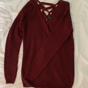 Burgundy Lace-Back Sweater - Small